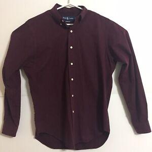 Mens Ralph Lauren Maroon Red Button-Down Casual Dress Shirt Size Medium M