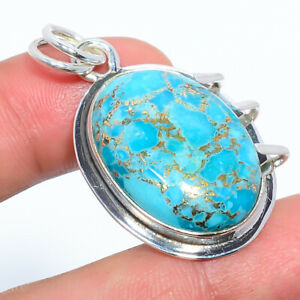 "Copper Blue Turquoise-Arizona Handmade 925 Sterling Silver Pendant 1.64"" F2655"
