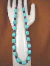 "(v326-81) 18"" long Chinese turquoise + purple Amethyst beaded gemstone Necklace"