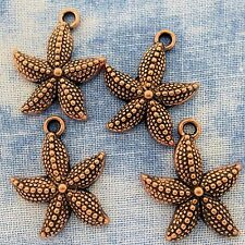 Antique Copper Alloy Metal Starfish Charms 10 Pieces 20mm #0447