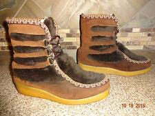 Vintage Womens 82541 Northlanders Sz 7 Faux Fur Brown Fashion Boots Ski