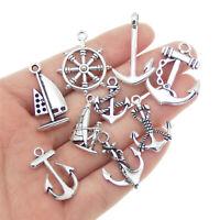 9 pcs Mix Vintage Silver Alloy Anchors Charms Pendants DIY Crafts Accessories