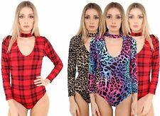 New Ladies Cut Out High Choker Keyhole Neck Printed Leotard Bodysuits
