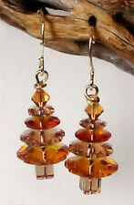 "Swarovski Element ""Topaz & Lt Colorado Topaz"" Christmas Tree Gold Earrings #7ct"