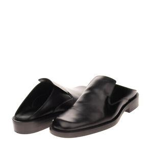 RRP €570 BALENCIAGA Leather Mule Shoes EU 44 UK 10 US 11 Polished Made in Italy