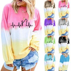Women Ladies Tie Dye Casual Loose Long Sleeve Sweatshirt Pullover Fashion Tops M