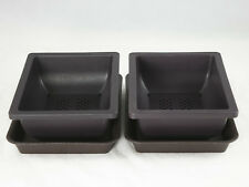 "2 Set Rectangular Plastic Bonsai / Succulent Pots + Trays 7.5""x 5.5""x 2.5"""
