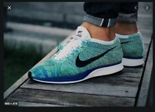 MENS 8.5 NIKE FLYKNIT RACER SHOES TRANQUIL BLUE GREEN WHITE BLACK 526628 104