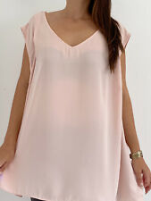 AUTOGRAPH Pale Pink Sleeveless V-Neck Blouse Top Plus Size AU 26 Basic Casual