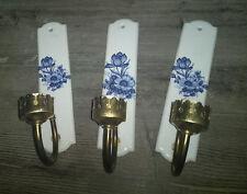 Set of 3 French Paris porcelain plaques wall lights blue white floral decor