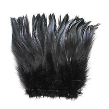 """100+ (7.0g, 1/4Oz) Jet Black 5-7"""" Hackle Rooster COQUE Feathers for crafting"""