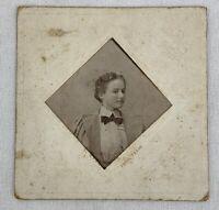 """Antique Cabinet Card Young Woman Paris Texas Square 4"""" x 4"""" 1800s Photo e1"""