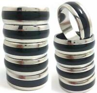 12pcs Black Enamel Strip Men's Stainless Steel Band Rings Wholesale Jewelry Lots