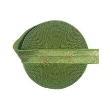 "5 Yard 5/8"" Gold Cactus Foil Print Fold Over Elastic FOE Spandex Band Dress Trim"