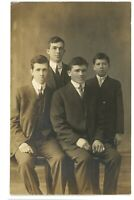 RPPC 4 Young Gentlemen in Dapper Suits Portrait Real Photo Postcard