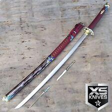 "43"" RED Katana Samurai Sword DRAGON TSUBA Stainless Steel w/ Sheath Collectible"