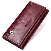 Women's Genuine Leather Long Wallet ZIP Credit Card Holder Clutch Purse Handbag