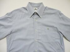 Lacoste Mens Button-Front Casual Shirt 38 Small Medium Croc Summer Light Blue