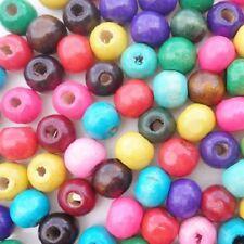 LOT de 100 PERLES rondes en BOIS multicolores dia. 10mm création bijoux