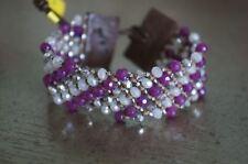NEW Chan Luu Purple Semi Precious Stone Swarovski Crystal Cuff Wrap Bracelet