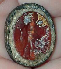 24.5mm Rare Ancient Roman Bronze Scarab with Intaglio, Hunting, 1800+ YO, #S2716