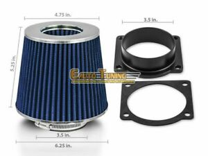 Mass Air Flow Sensor Intake Adapter + BLUE Filter For 00-01 Jaguar S-Type 4.0 V8