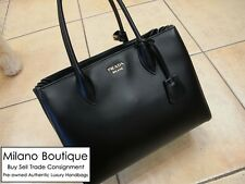 NEW Authentic PRADA Bibliotheque Black Calf Leather Tote Shoulder Bag