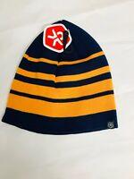Color Kids - Mütze Beanie blau orange gestreift - NEU Gr. 54 2237n