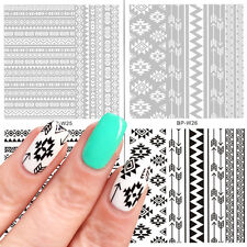 2 Sheets Water Decals Ethnic French Nail Art Transfer Sticker Tips BORN PRETTY