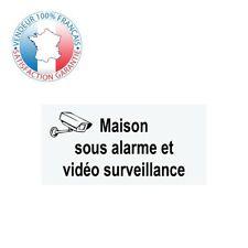Plaque MAISON SOUS ALARME ET VIDÉOSURVEILLANCE | Gravée (blanc) | 10 x 5 cm