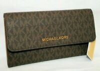 MICHAEL KORS JET SET TRAVEL LARGE TRIFOLD MK SIGNATURE WALLET BROWN