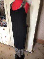 EAST Ladies Black Beige Long Pleated Sleeveless Straight Shift Dress Size M