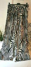 Sommerhose weites Bein Zebra Schwarz/Weiß elastischer Bund Baumw Free Size 38 40