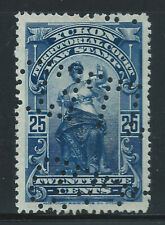 Canada #YL8(2) PERFIN 1903 25 cent blue YUKON LAW - TERRITORIAL COURT Used CV$4