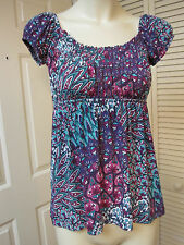 AB STUDIO BLUE EMPIRE FLORAL PEASANT RENN WENCH BOHO SHIRT TOP S SMALL