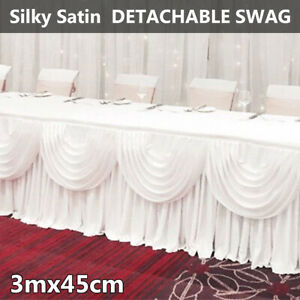 Ice Silk Satin Wedding Backdrop Swags Curtain Party Stage White Decor