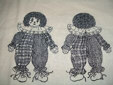Vtg 90s Victorian Clown Plaid Doll Toy Clothes Cut Sew Stuff Fabric Panel#bd