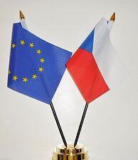 European Union & Czech Republic Double Friendship Table Flag Set