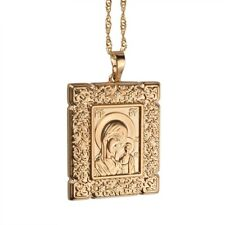 Russia Orthodox Virgin Son Portrait Pendant Necklace Greek Russian Jewelry God