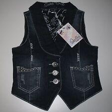 Suko Girl Denim Jean Vest Embellished Factory Faded Dark Wash Girl's Size 8