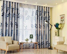LEAVES PRINT Blockout Eyelet Curtain Leaves Light Grey 240cm x 230cm