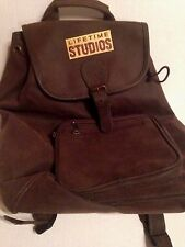 Backpack Lifetime Studios safari style knapsack brown brushed leatherette Rugged