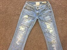 Tavernitie ~ PEGGY ~ Boot Cut Distressed Patched Womens Size W 26 Jeans Pants