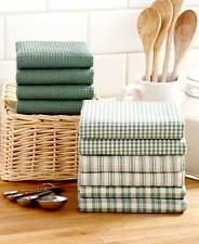 10- Pc Homespun Kitchen Towel Set Waffle Weave Dish Drying Towels Cleaning-Sage