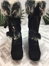 "Sporto Boots Black Suede Faux Fur Mid Calf 1.5"" Heel Pom Pom Women's 8.5 W Wide"