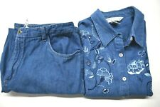 Napa Valley Womens Petite 12P Medium 100% Cotton Jean Top and Bottom Outfit