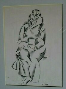 ARTIST ANDRE LHOTE SIGNED ORIGINAL INK DRAWING PAINTING OF WOMAN