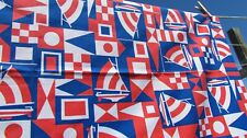 """VTG fabric sailboat nautical flags 45"""" x 74"""" red white blue 1960s 60s cotton wow"""
