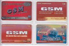 4 TELECARTE / PHONE CARD .. FRANCE PREPAYEE RUBICOM SYMACOM MIX DIFFERENTS A4