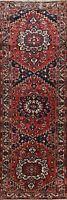 Vintage RED Geometric Bakhtiari Hand-knotted Runner Rug Hallway Oriental 4'x12'